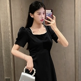 洋裝大碼連身裙方領連身裙收腰顯瘦小黑裙1F-149 胖妹大碼女裝