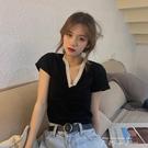 夏季韓版2021新款蕾絲拼接V領修身短款...