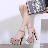 高跟鞋 14cm超高跟夜場粗跟防水台魚嘴涼鞋15cm恨天高舞台模特走秀高跟鞋 朵拉朵
