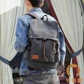 筆電包休閒雙肩後背包男時尚帆布大容量旅行書包【宅貓醬】