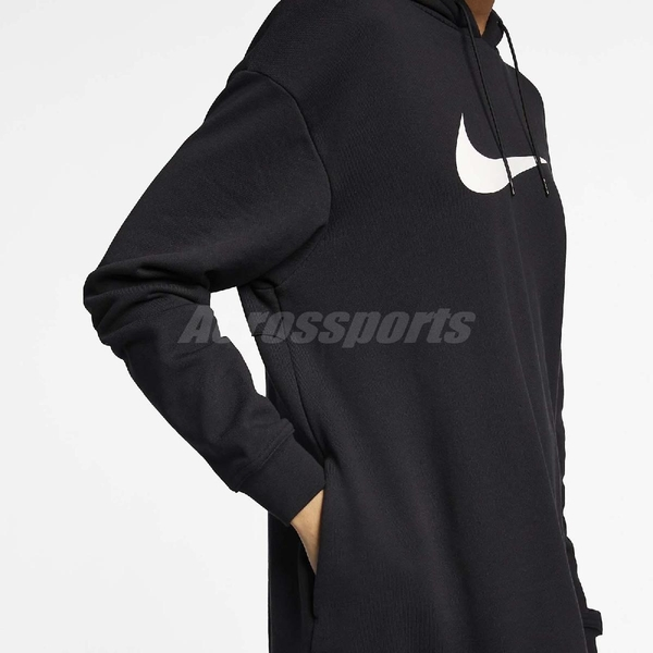 Nike 長版帽T NSW Swoosh Hoodie 女款 黑 白 連身 帽踢 連帽T恤 長袖 上衣【ACS】 AV8291-010
