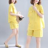 文藝大碼女裝微胖女孩穿搭套裝遮肚夏季寬鬆襯衫條紋短褲子兩件套 快速出貨