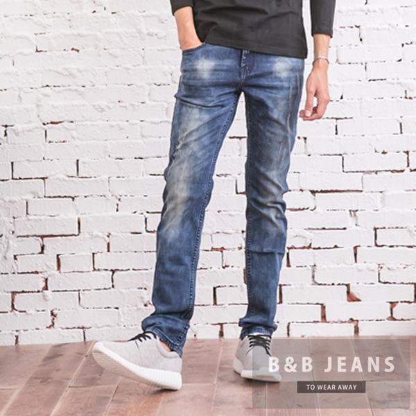 湛藍微刷白繡線牛仔褲