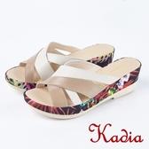 ★2018春夏新品★Kadia.極簡街頭真皮交叉拖鞋(8107-30棕)