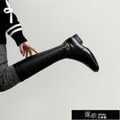 長靴 新款新款騎士靴女真皮高筒方頭長筒彈力小個子長靴顯瘦3cm瘦版 【全館免運】