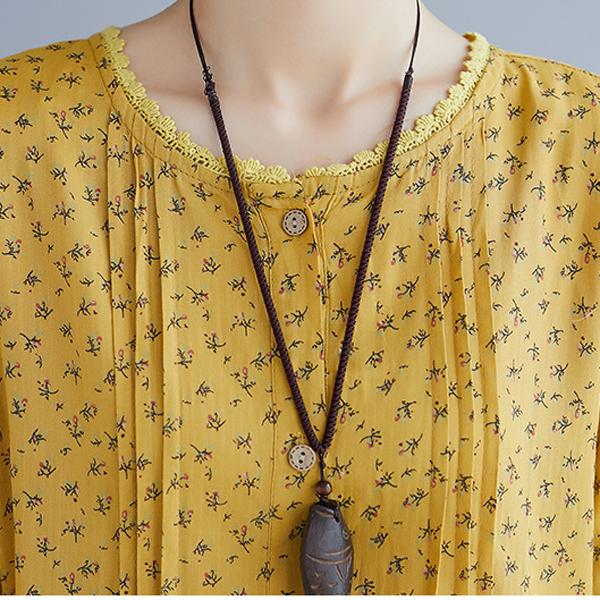 L混紡洋裝  有色差喔姜黃印花-月兒的綺麗莊園