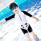 男童泳褲   熊貓兒童連體泳衣可愛卡通男女童小童中童寶寶游泳衣   ciyo黛雅