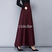 半身長裙 特價款純色毛呢半身裙女季大擺加厚酒紅長裙A字喇叭高腰裙 SUPER SALE 快速出貨