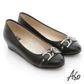 A.S.O 舒活寬楦 真皮窩心釦飾低跟平底鞋 黑色