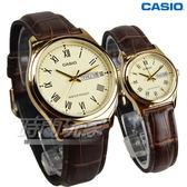 CASIO卡西歐 經典優雅石英情人對錶 真皮錶帶 學生手錶 防水 咖啡x金 LTP-V006GL-9B+MTP-V006GL-9B