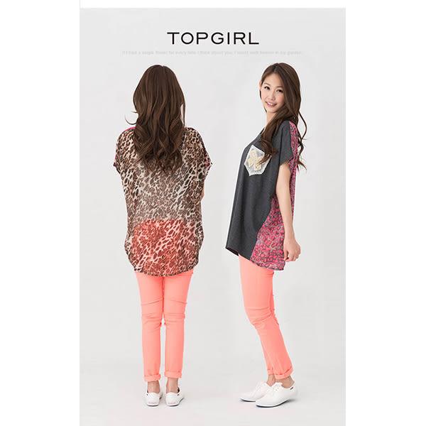 TOP GIRL 豹紋拼接造型圓領T-麻桃紅
