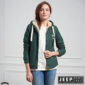 【JEEP】女裝 休閒百搭絨毛連帽外套 (森林綠)