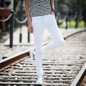 夏季薄款黑白色牛仔褲男士修身型小直筒韓版青少年高彈力小腳褲潮 中秋節全館免運