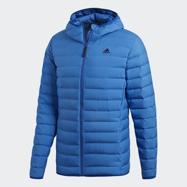 Adidas VARILITE SOFT HOODED 男款寶藍色羽絨外套-NO.CY8737