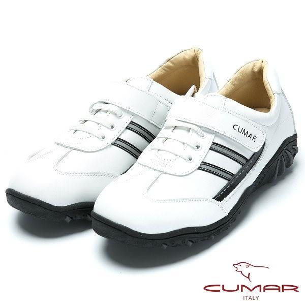 CUMAR MIT台灣製造 全真皮舒適魔術貼休閒鞋-白色