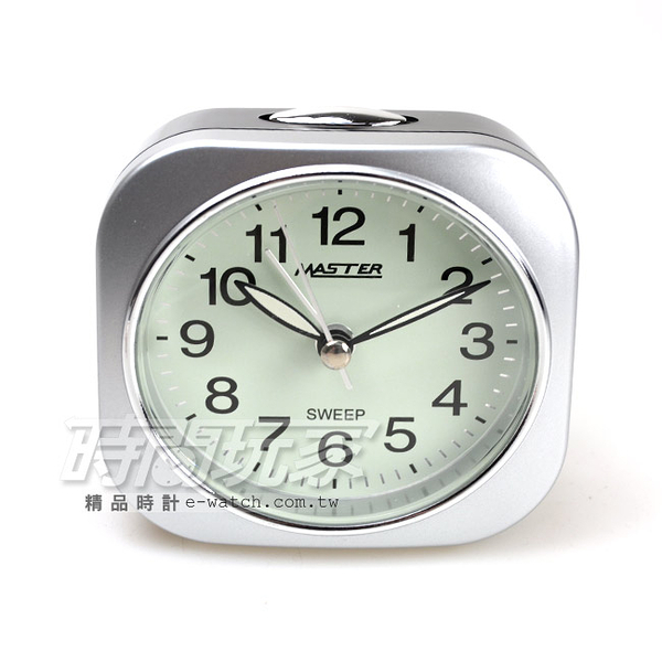 MASTER 台灣製造 精美鬧鐘 連續秒針 大聲BiBi+燈光 JM-E433銀