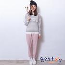 betty's貝蒂思 質感素色腰間鬆緊長褲(淺粉)