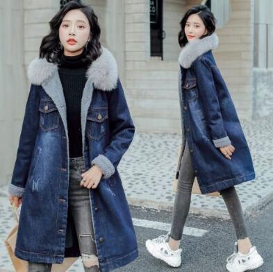 VK旗艦店 韓國風大毛領牛仔羊羔毛棉服加絨單品外套