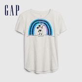 Gap女童 Gap x Disney 迪士尼系列可撥動亮片圓領短袖T恤 577855-石楠灰色