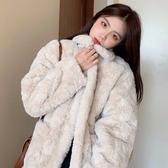 仿兔毛皮草短外套女冬季新款韓版寬鬆翻領矮個子網紅毛絨絨大衣潮 雅楓居