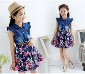 女童牛仔裙 女童牛仔碎花洋裝新款韓版兒童裙子LJ8724『miss洛羽』