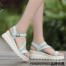 FINDSENSE品牌 新款 日本 女 高品質 真皮 簡約 清新純色 厚底增高