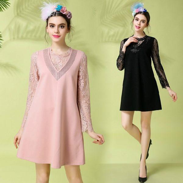 卡樂store...小中大尺碼女裝韓版蕾絲拼接假二件式連身裙 2 色 S-5XL #bl1863