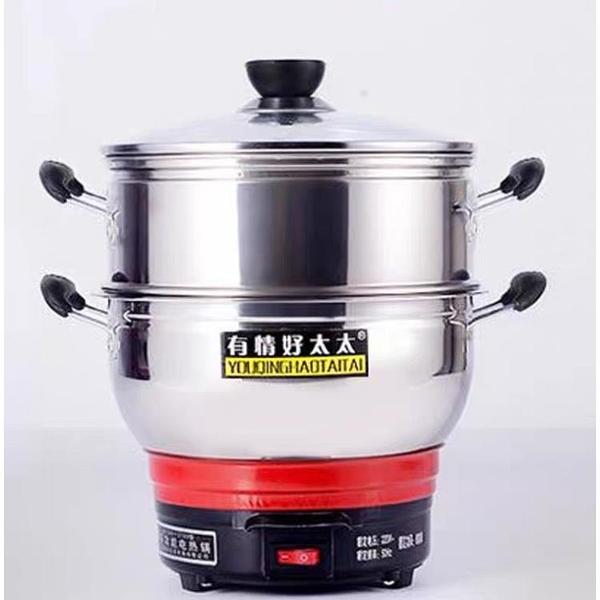 不銹鋼多功能電熱鍋家用炒菜電炒鍋蒸煮炒一體鍋多用電鍋(220V/ @777-11606)