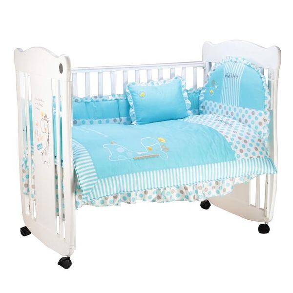 ViVibaby 長頸鹿嬰兒床(大床)+七件組寢具組(藍/粉)