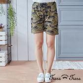 【Tiara Tiara】純棉鬆緊腰休閒短褲(迷彩/灰/黑)