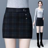 毛呢格子裙褲女2020秋冬新款顯瘦假兩件短褲外穿呢子百搭包臀短裙