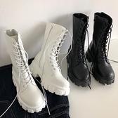 馬丁靴女2020夏季新款厚底增高系帶短靴百搭復古粗跟中筒機車靴子