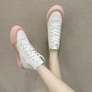 高筒鞋 高幫小白帆布鞋女夏季薄款2021新款百搭學生透氣老爹休閒運動板鞋