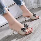 女鞋夏涼拖女外穿女士社會女拖鞋女夏港風蝴蝶結高跟拖鞋 居樂坊生活館