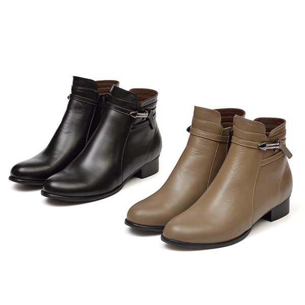 訂製鞋 全真皮水鑽繞踝低跟短靴-黑色下單區