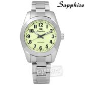 SE Sapphire / SE014L01L / 簡潔大方夜光藍寶石水晶不鏽鋼手錶 淺綠色 29mm
