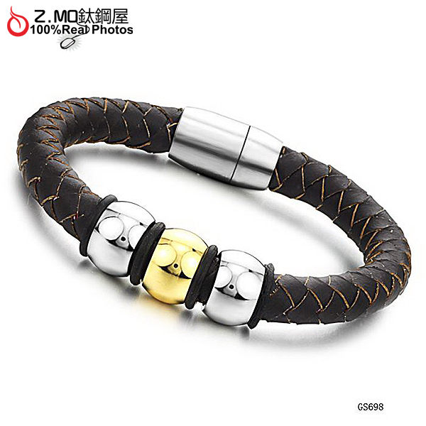 [Z-MO鈦鋼屋]鈦鋼真皮手環/淺棕色手環/時尚流行手環/父親節禮物推薦單件價【CKL698】