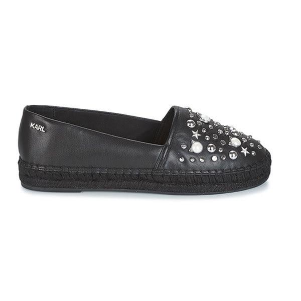 Karl Lagerfeld 卡爾 老佛爺 鞋 Q版珍珠貓咪草編鞋-黑