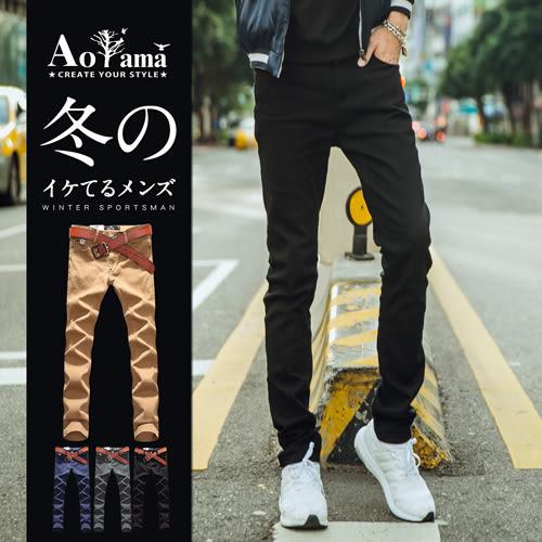 休閒褲 高彈力完美版型窄版合身休閒長褲【X55597】工作褲 青山AOYAMA