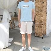 夏季新款大碼休閒運動套裝男潮流韓版帥氣兩件套短袖短褲兩件式褲裝LXY3090【野之旅】