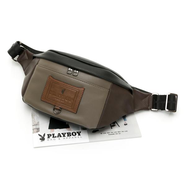 PLAYBOY- 單肩背包/腰包 Mixing系列-咖色