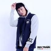 BIG TRAIN 男款貼標棒球連帽外套-藍-B3019156