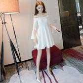 小禮服女2018年春裝新款女裝名媛蓬蓬裙白色露肩一字肩連身裙春季   初見居家