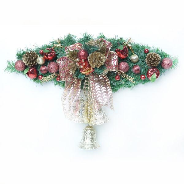 聖誕幸福雙鐘裝飾樹藤(紅金色)(中型)(壁飾門飾)