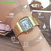 復古小金錶新款手錶男女學生潮電子錶金色防水鋼帶方形錶簡約休閒  深藏blue