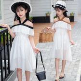 每週新品女童雪紡連身裙2019夏季一字肩荷葉邊兒童公主裙露肩中大童裙子