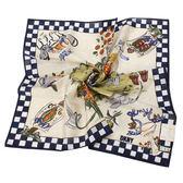 DKNY純棉田野風情插畫帕領巾(深藍邊)989086-12