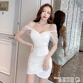 一字肩洋裝 一字肩法式網紗連身裙性感白色小禮服短裙夏季女裝2021新款 氣質 曼慕