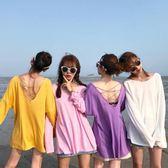 正韓女裝性感交叉美背圓領長袖T恤學生寬鬆薄款純色防曬上衣優樂居生活館