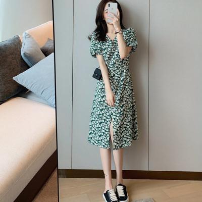 洋裝大碼連身裙綠色碎花連身裙長款女1F-A030-E 胖妹大碼女裝